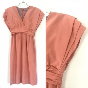 Vintage 1970's does 40's peachy pink dress